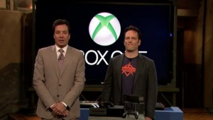 Pictured: Phil Spencer representing the Xbox One on Late Night with Jimmy Fallon